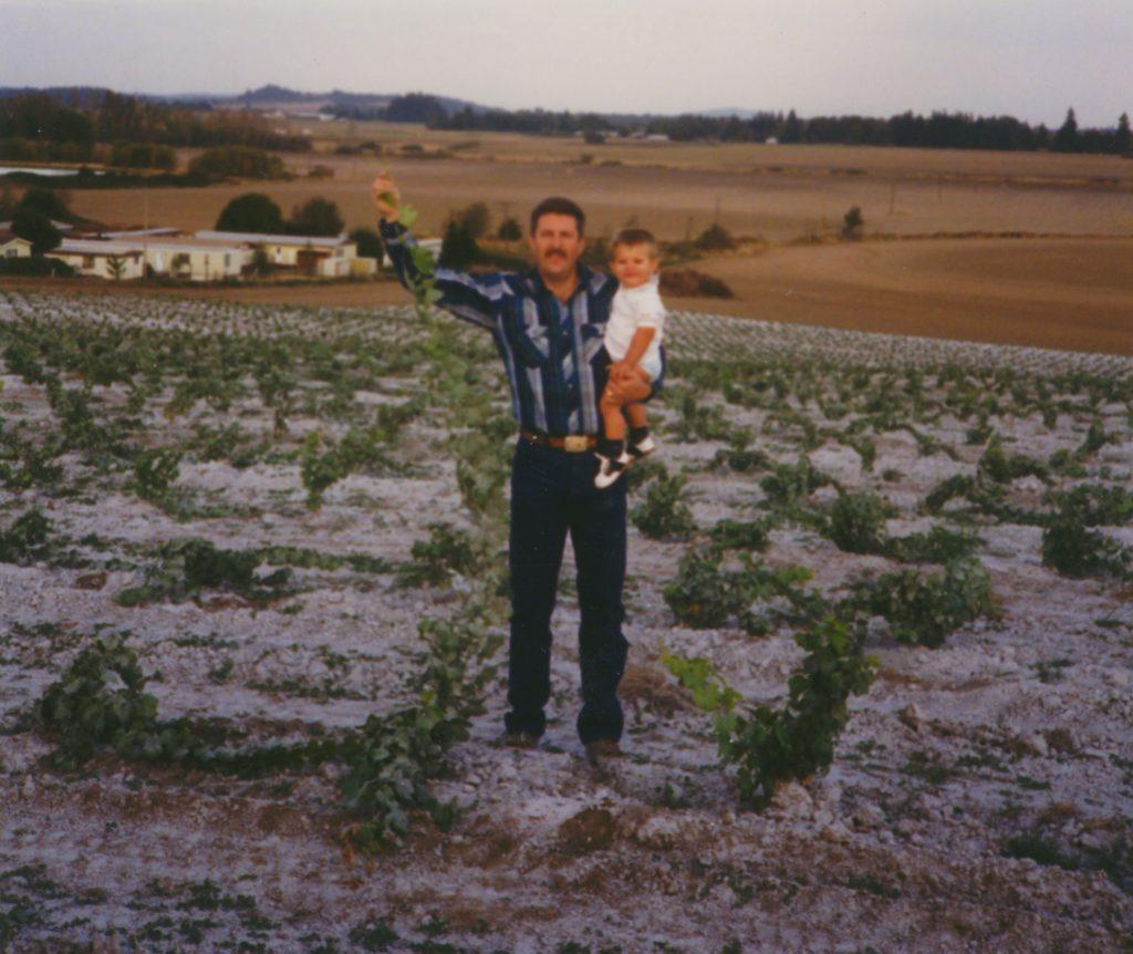 Kyle and Brayden in the vineyard - 1991