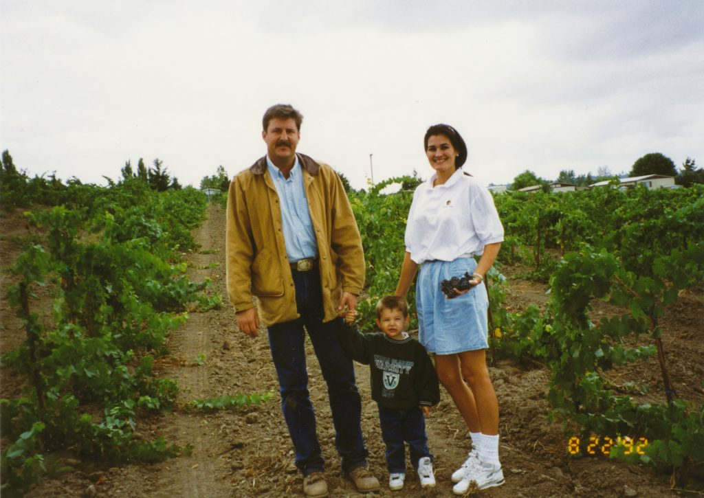 Kyle, Brayden and Holly in the vineyard - fall 1992