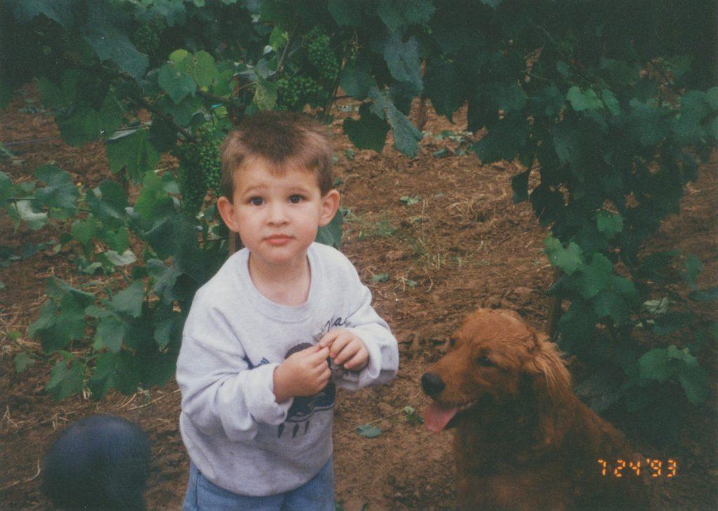 Brayden and Jolee in the vineyard - summer 1993